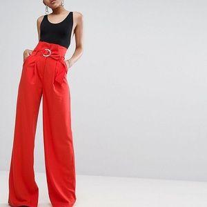 Wide leg high waisted pants